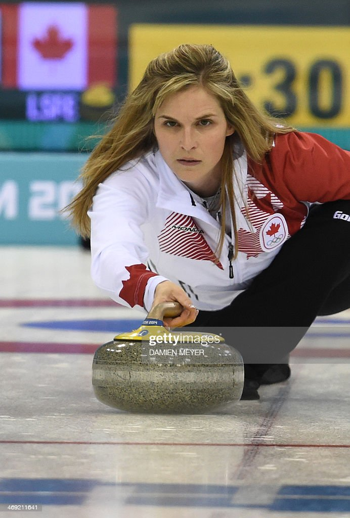 Canada's Jennifer Jones throws the stone during the Women's Curling Round Robin Session 6 against Switzerland at the Ice Cube Curling Center during...