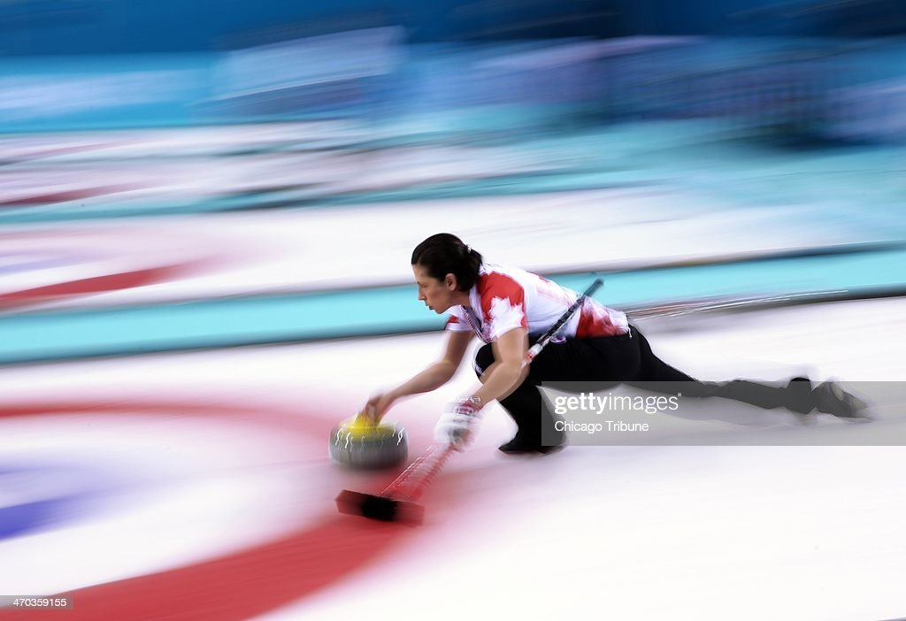 Canada's Jill Officer throws against Great Britain during women's curling semifinals at the Ice Cube Curling Center during the Winter Olympics in...