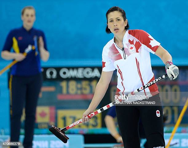 Canada's Jill Officer watches the stone during the Women's Curling Gold Medal Game Sweden vs Canada at the Ice Cube Curling Center during the Sochi...