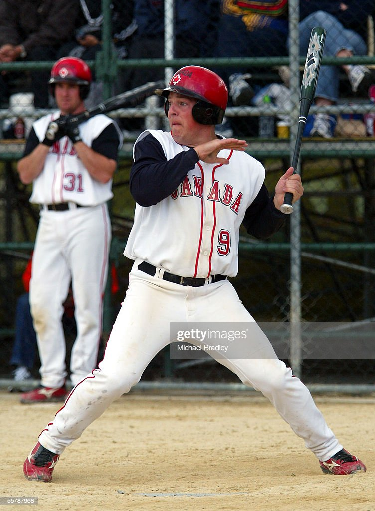 Canada's Jody Eidt looks to aviod a ball during the final between The New Zealand Black sox and Team Canada at the World Softball Champs played at the Smokefree Ballpark, Christchurch, New Zealand, Sunday, February 08, 2004. The Black Sox won 95.