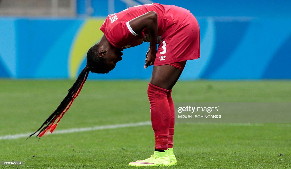 TOPSHOT - Canada's Kadeisha Buchanan is pictured during the Rio 2016 Olympic Games women's football quarterfinal match against France at the Corinthians Arena in Sao Paulo, Brazil, on August 12, 2016. / AFP / Miguel SCHINCARIOL