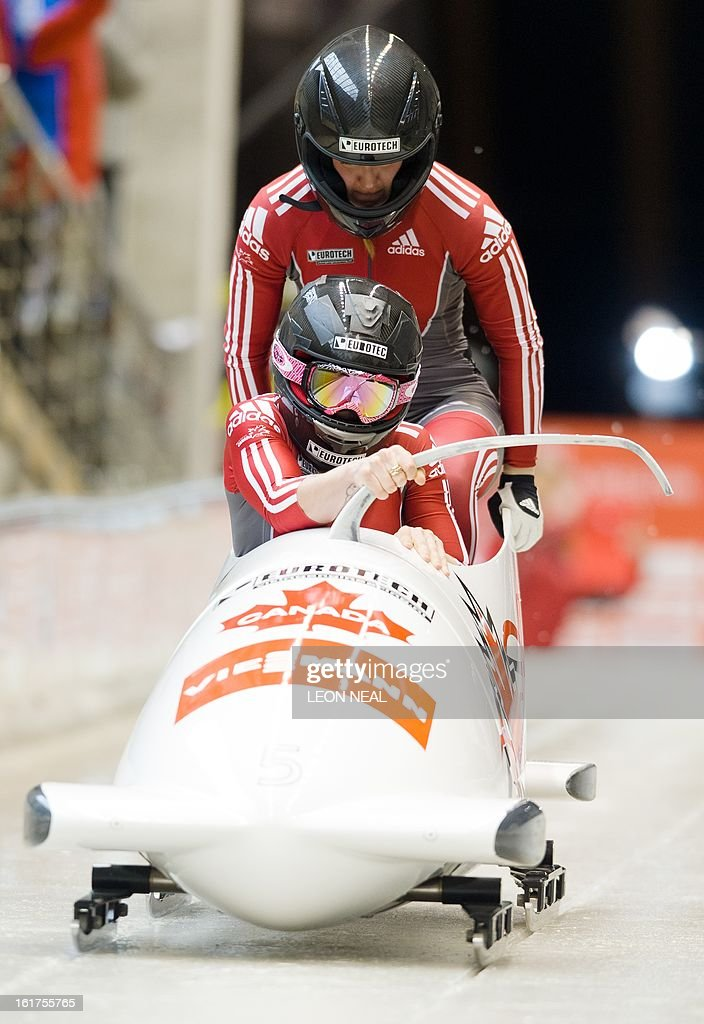 Canada's Kaillie Humphries (L) and Chelsea Valois take part in the first run during the Women's Bobsleigh competition at the Sanki Sliding Centre, some 50 km from Russia's Black Sea resort of Sochi, on February 15, 2013. With a year to go until the Sochi 2014 Winter Games, construction work continues as tests events and World Championship competitions are underway.