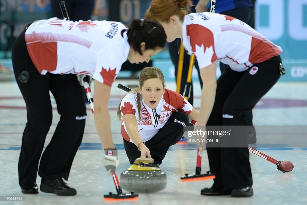 Canada's Kaitlyn Lawes throws the stone during the Women's Curling Gold Medal Game Sweden vs Canada at the Ice Cube Curling Center during the Sochi...
