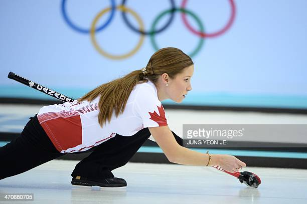 Canada's Kaitlyn Lawes watches the stone during the Women's Curling Gold Medal Game Sweden vs Canada at the Ice Cube Curling Center during the Sochi...