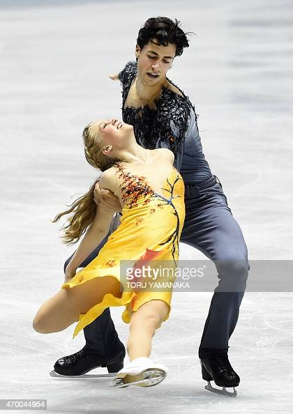 canadas kaitlyn weaver front and andrew poje perform