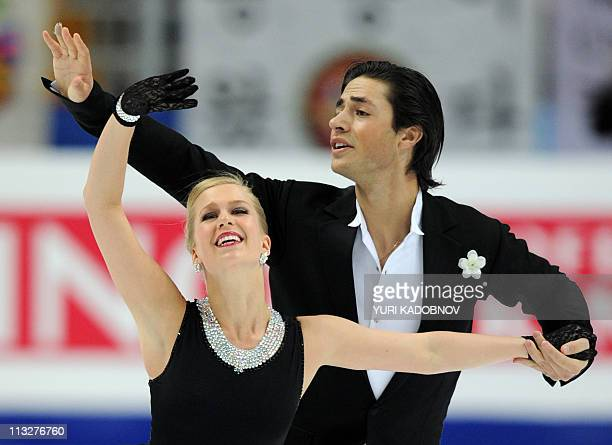 Canada's Kaitlyn Weaver and Andrew Poje perform their short program in the ice dance category during the ISU World Figure Skating Championships on...