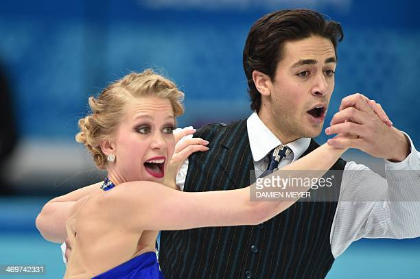 Canada's Kaitlyn Weaver and Canada's Andrew Poje perform in the Figure Skating Ice Dance Short Dance at the Iceberg Skating Palace during the Sochi...
