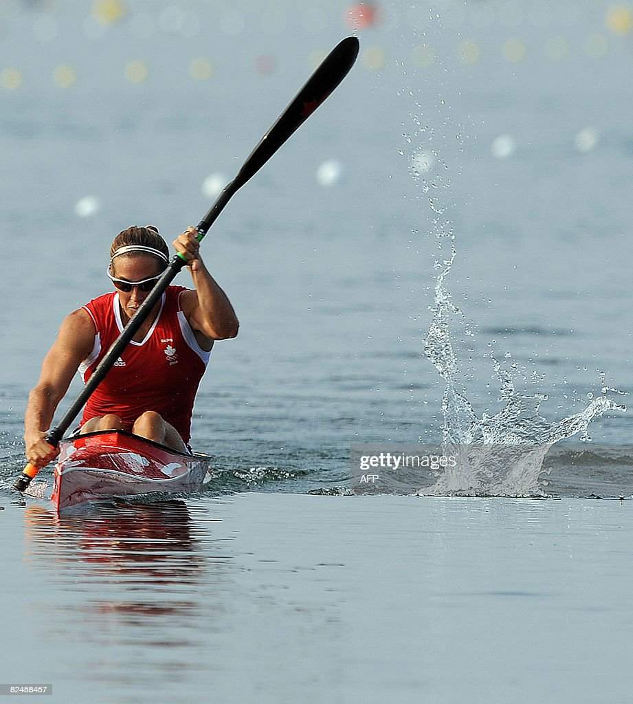 Canada's Karen Furneaux competes in the women's kayak K1 500m flatwater race at the Shunyi Rowing and Canoeing Park during the 2008 Beijing Olympic Games in Beijing on August 19, 2008.