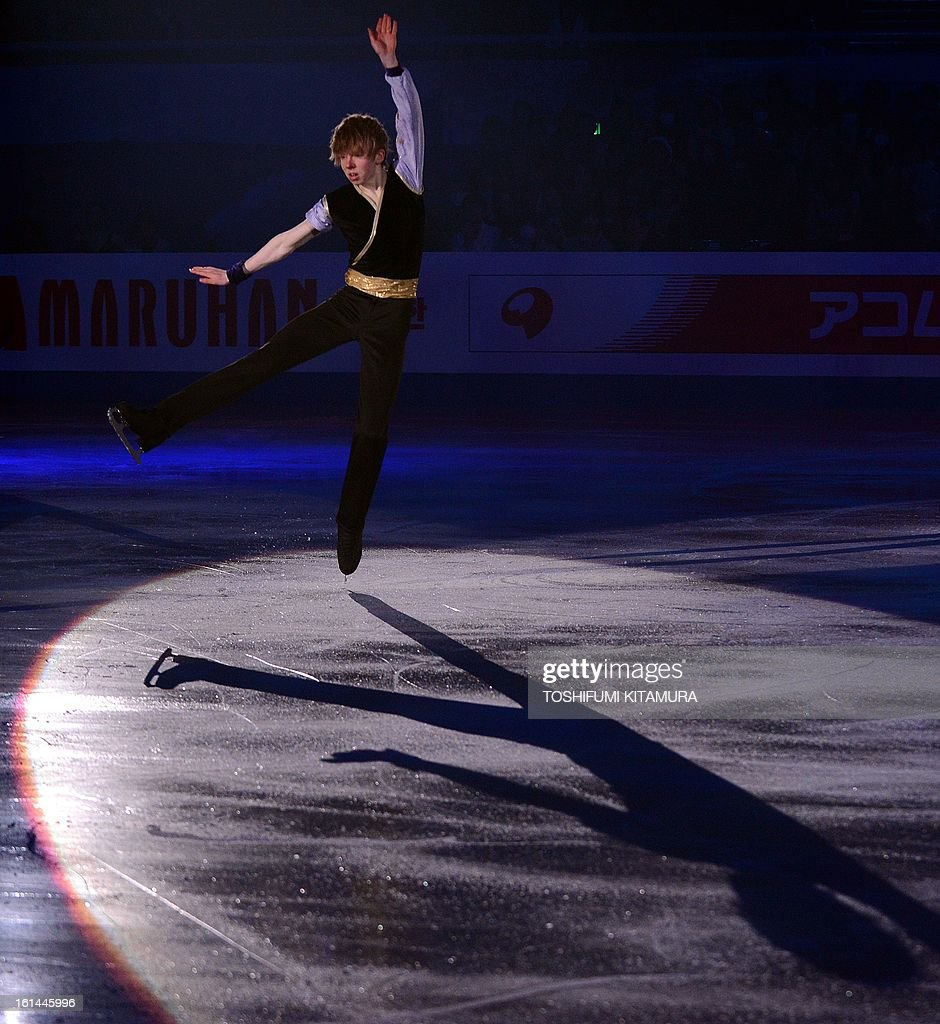 Canada's Kevin Reynolds performs his men's routine in the gala exhibition event after the Four Continents figure skating championships in Osaka on February 11, 2013.
