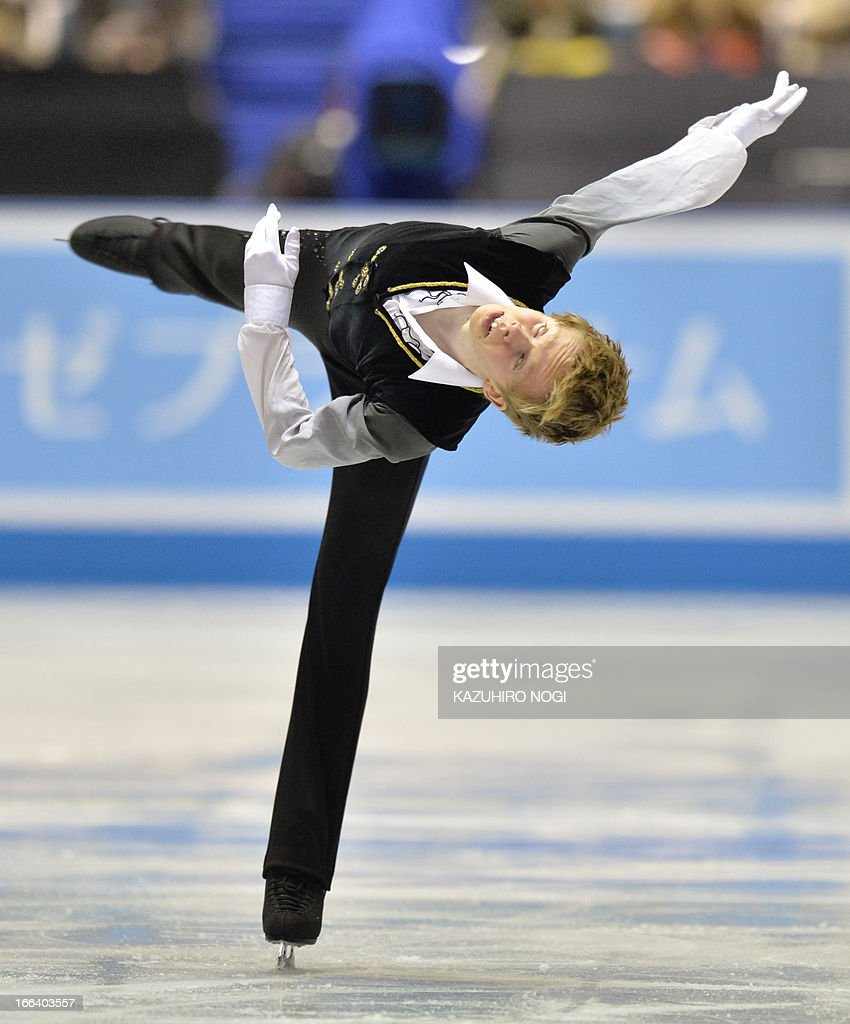 Canada's Kevin Reynolds performs in the men's free skating at the World Team Trophy figure skating competition in Tokyo on April 12, 2013.