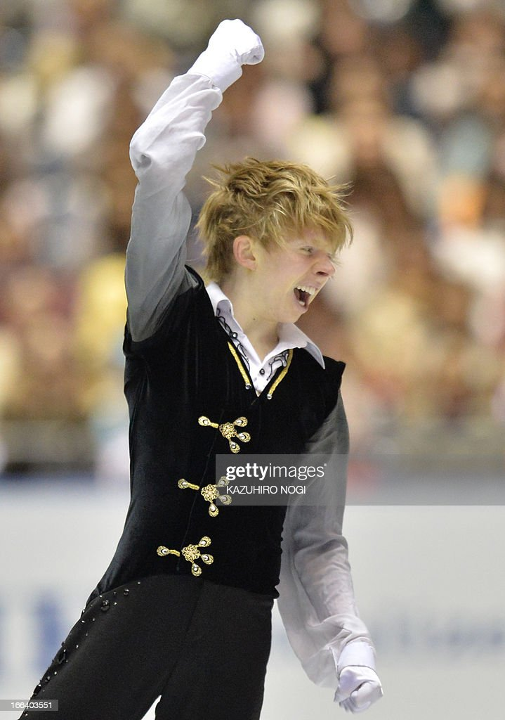 Canada's Kevin Reynolds reacts after his performance in the men's free skating at the World Team Trophy figure skating competition in Tokyo on April 12, 2013.