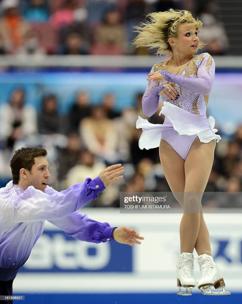 Canada's Kirsten Moor-Towers (R) and Dylan Moscovitch perform their free skating performance in the pairs event during the Four Continents figure skating championships in Osaka on February 10, 2013.