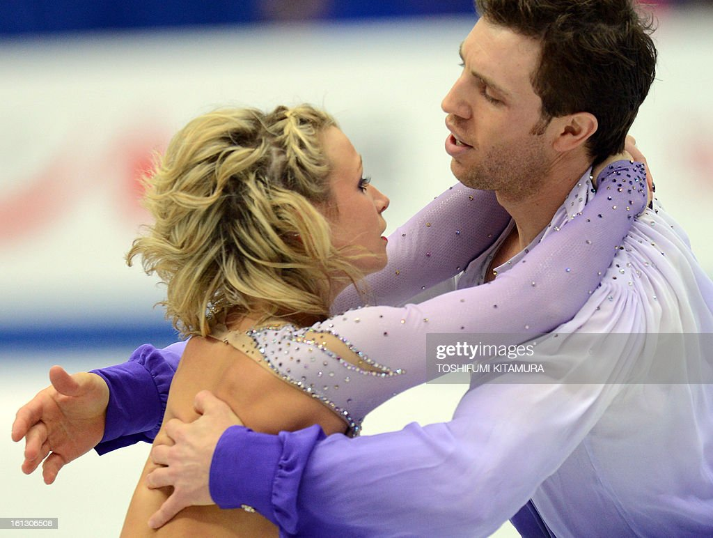 Canada's Kirsten Moor-Towers (L) and Dylan Moscovitch perform their free skating performance in the pairs event during the Four Continents figure skating championships in Osaka on February 10, 2013.