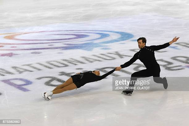 Canada's Lubov Ilyushechkina and Dylan Moscovitch perform during the Ice Pairs short program event of the Internationaux de France ISU Grand Prix of...