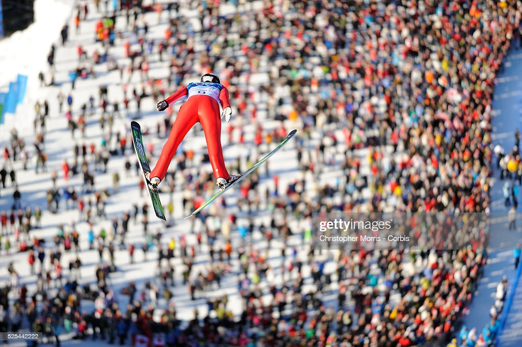 Canada's Mackenzie BoydClowes during the qualification round for the long hill individual ski jumping at Whistler Olympic Park on day 8 of the...