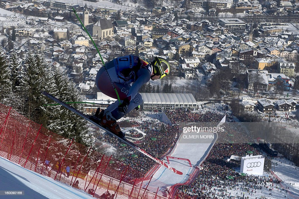 Canada's Manuel Osborne-Paradis competes during the men's World Cup Downhill, on January 26, 2013 in Kitzbuehel, Austrian Alps. Italy's Dominik Paris won the race ahead Canda's Erik Guay and Austria's Hannes Reichelt . AFP PHOTO / OLIVIER MORIN