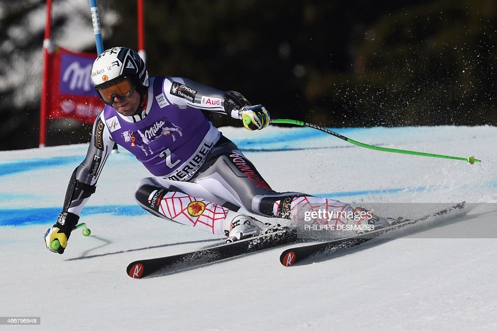 Canada's Manuel OsborneParadis competes in the Men's Super G race at the FIS Alpine Skiing World Cup finals in Meribel on March 19 2015 AFP PHOTO /...