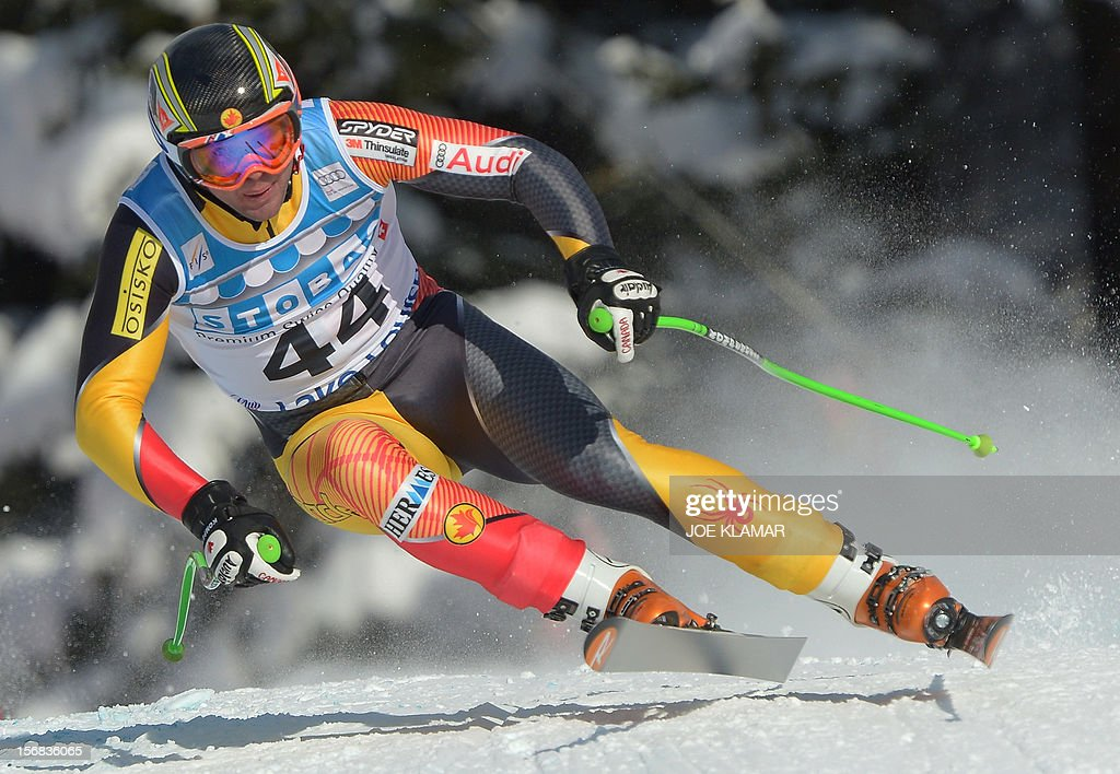 Canada's Manuel Osborne-Paradis skis during the downhill practice for the Alpine Skiing World Cup in Lake Louise, Canada on November 22, 2012.