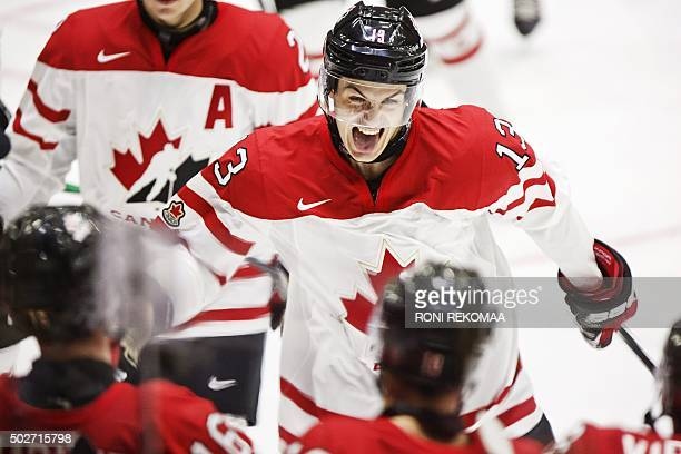 Canada's Matt Barzal celebrates the 31 goal during the 2016 IIHF World Junior Ice Hockey Championship match between Canada and Denmark in Helsinki...