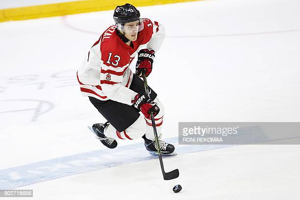 Canada's Matt Barzal skates with the puck during the 2016 IIHF World Junior Ice Hockey Championship match between Canada and Denmark in Helsinki...