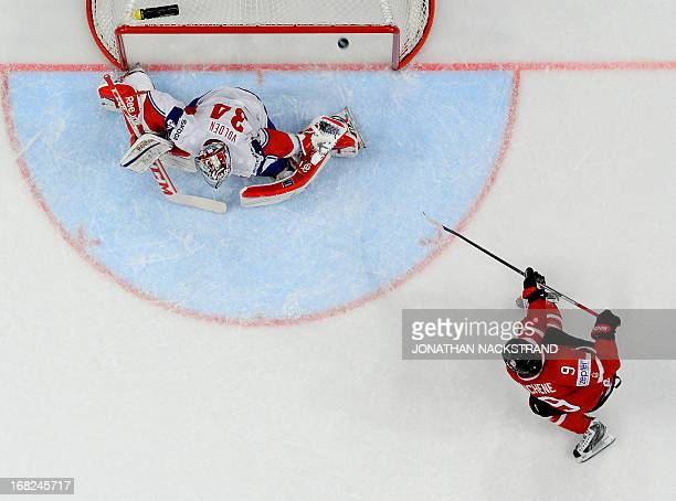 Canada's Matt Duchene scores during the preliminary round match Canada vs Norway at the 2013 IIHF Ice Hockey World Championships on May 7 2013 in...