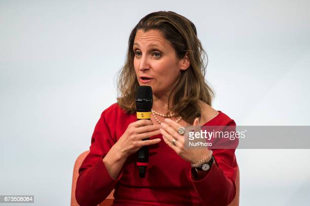 Canada's Minister for Foreign Affairs Chrystia Freeland is pictured during the Woman 20 Summit in Berlin Germany on April 25 2017 The event which is...