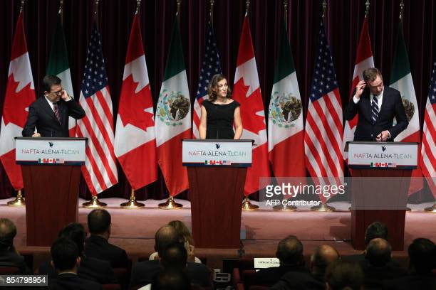 Canadas Minister of Foreign Affairs Chrystia Freeland Mexicos Secretary of Economy Ildefonso Guajardo Villarreal and United States Trade...