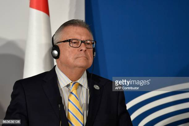 Canada's Minister of Public Security and Civil Protection Ralph Goodale looks on during a press conference at the end of the G7 summit of Interior...
