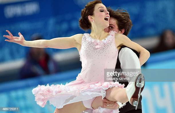 Canada's Mitchell Islam and Canada's Alexandra Paul perform in the Figure Skating Ice Dance Short Dance at the Iceberg Skating Palace during the...