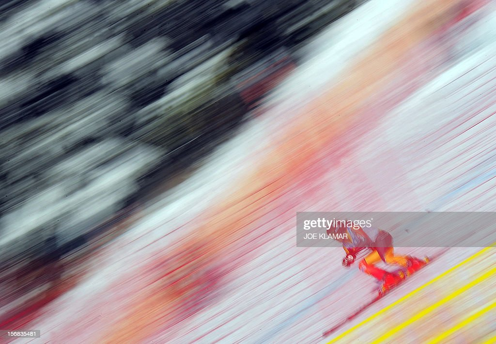 Canada's Morgan Pridy skis during the downhill practice for the Alpine Skiing World Cup in Lake Louise, Canada on November 22, 2012.