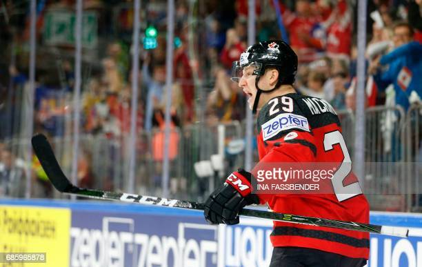 Canada's Nate MacKinnon celebrates a goal during the IIHF Men's World Championship Ice Hockey semifinal match between Canada and Russia in Cologne...