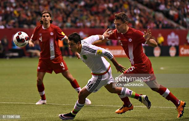 Canada's National Team vs Mexico play in 2018 FIFA World Cup Russia qualifier action at BC Place Stadium in Vancouver on March 25 2016 Mexico won 30...