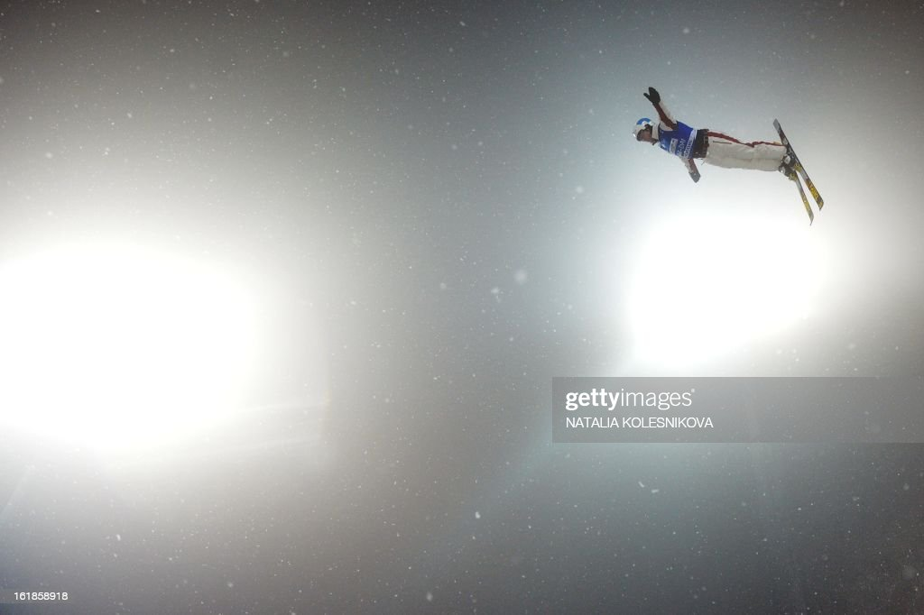 Canada's Olivier Rochon jumps during the Freestyle Ski World Cup Men's Aerials Test Event at the Snowboard and Freestyle Center in Rosa Khutor near the Black Sea resort of Sochi, on February 17, 2013. Chinese Guangpu Qi won ahead of Chinese Zhongqing Liu and Belarus Denis Osipau.