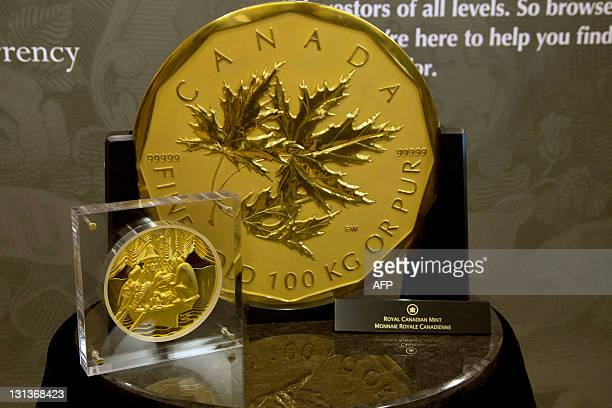 Canada's one million dollarface value coin weighing 100kg and made of 99999% pure gold was on display in Toronto on November 3 2011 The large gold...