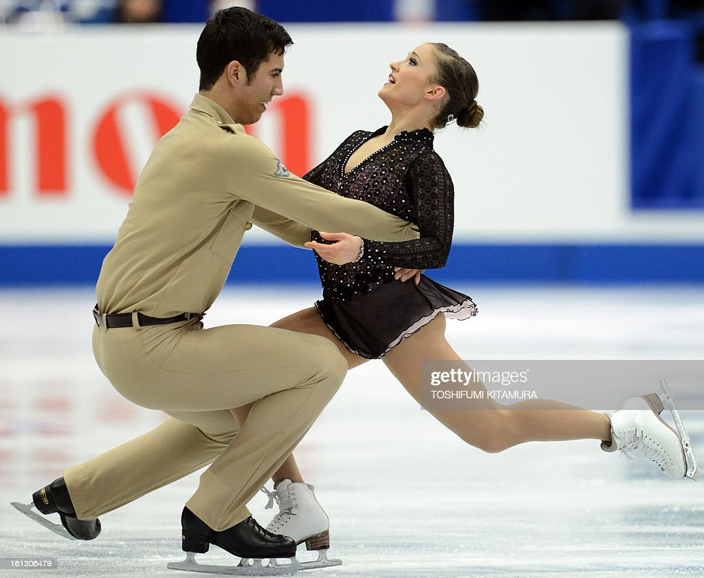 Canada's Paige Lawrence (L) and Rudi Swiegers perform their free skating performance in the pairs event during the Four Continents figure skating championships in Osaka on February 10, 2013.