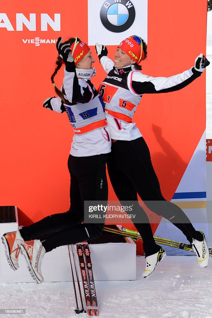 Canada's Perianne Jones (R) and Daria Gaiazova react after 6 x 1,25 km Ladies' Classic Team Sprint of FIS Cross Country skiing World Cup at Laura Cross Country and Biathlon Center in Russian Black Sea resort of Sochi on February 3, 2013. Finland's Mona-Lisa Malvalehto and Anne Kylloenen took the first place ahead of Russia's Julia Ivanova and Natalia Matveeva and Canada's Perianne Jones and Daria Gaiazova. AFP PHOTO/KIRILL KUDRYAVTSEV