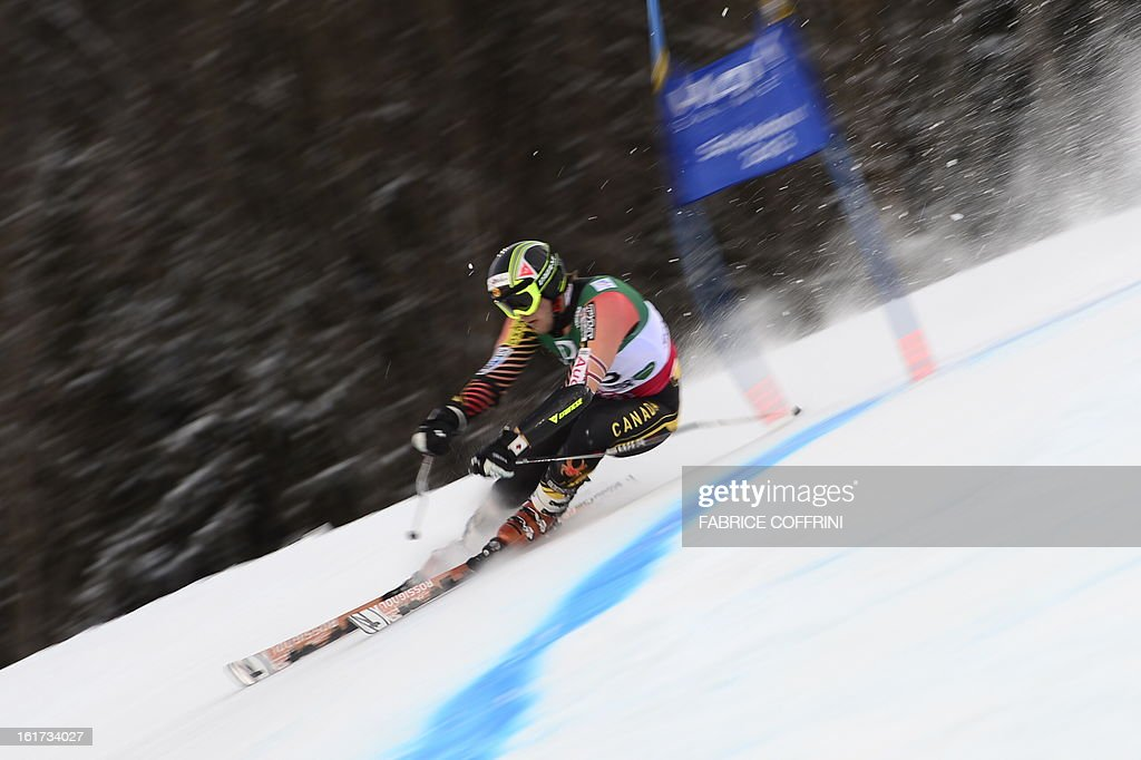 Canada's Philip Brown skis during the first run of the men's Giant slalom at the 2013 Ski World Championships in Schladming, Austria on February 15, 2013.