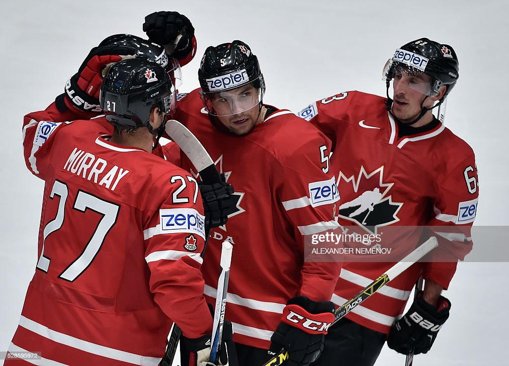 Canada's players celebrate a goal during the group B preliminary round game USA vs Canada at the 2016 IIHF Ice Hockey World Championship in St. Petersburg on May 6, 2016. / AFP / ALEXANDER