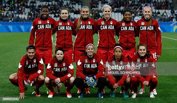 Canada's players pose for pictures before their Rio 2016 Olympic Games women's football quarterfinal match against France at the Corinthians Arena in...