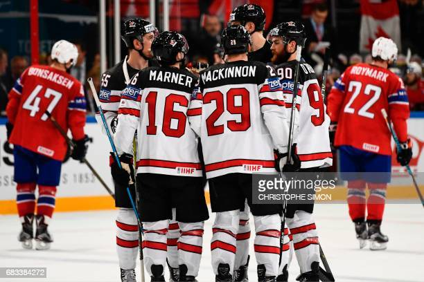 Canada's players react after a goal during the IIHF Men's World Championship group B ice hockey match between Canada and Norway on May 15 2017 in...