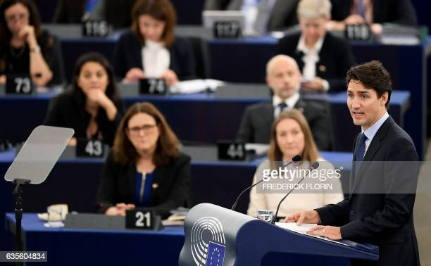Canada's Prime Minister Justin Trudeau delivers a speech at a plenary session at the European Parliament in Strasbourg eastern France on February 16...