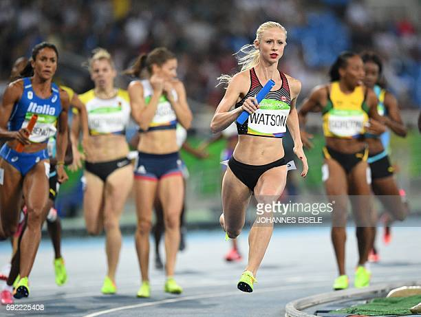 Canada's Sage Watson competes in the Women's 4x400m Relay Round 1 during the athletics event at the Rio 2016 Olympic Games at the Olympic Stadium in...