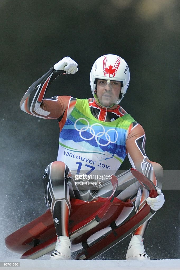 Canada's Samuel Edney reacts after a run in the men's Luge singles at the Whistler Sliding Centre on February 14, 2010 during the Vancouver Winter Olympics. Pfister placed seventh.