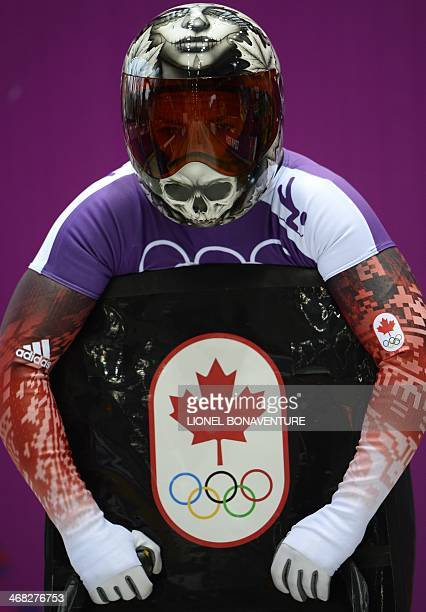 Canada's Sarah Reid takes part in a women Skeleton official training at the Sanki Sliding Center in Rosa Khutor during the Sochi Winter Olympics on...