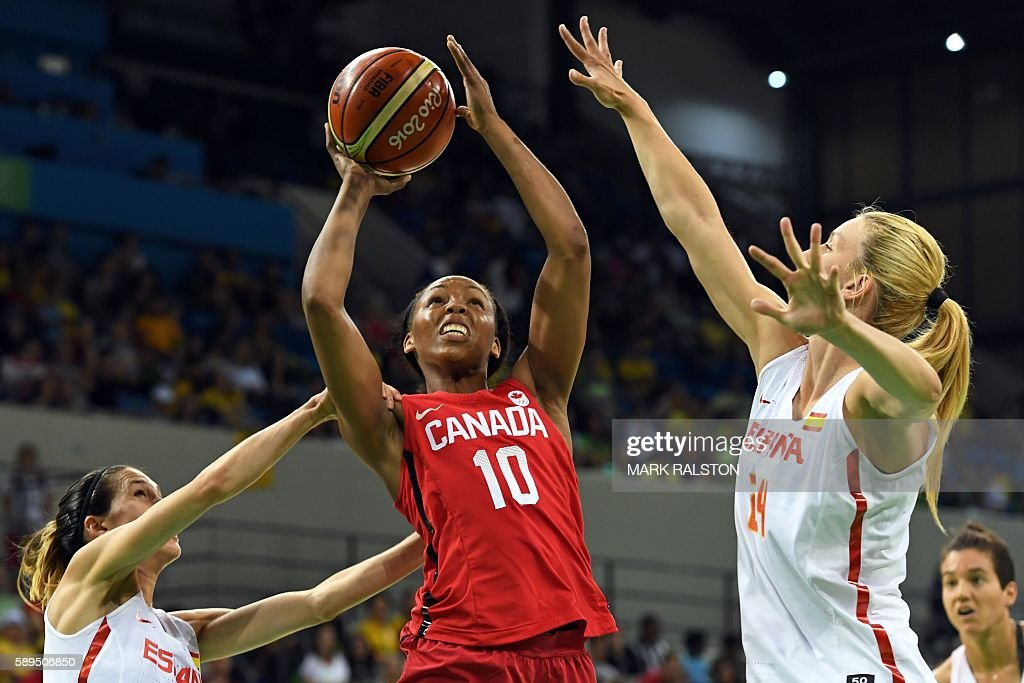 TOPSHOT Canada's shooting guard Nirra Fields goes to the basket between Spain's guard Anna Cruz and Spain's power forward Laura Gil during a Women's...
