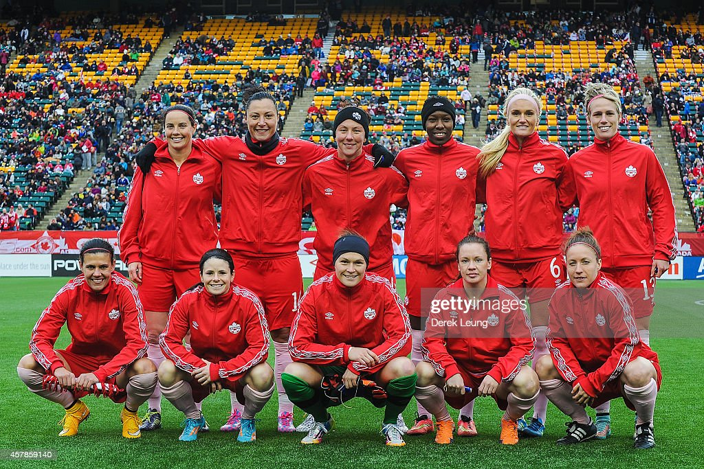 Canada's starting eleven pose for a photo prior to a match against Japan at Commonwealth Stadium on October 25, 2014 in Edmonton, Alberta, Canada.