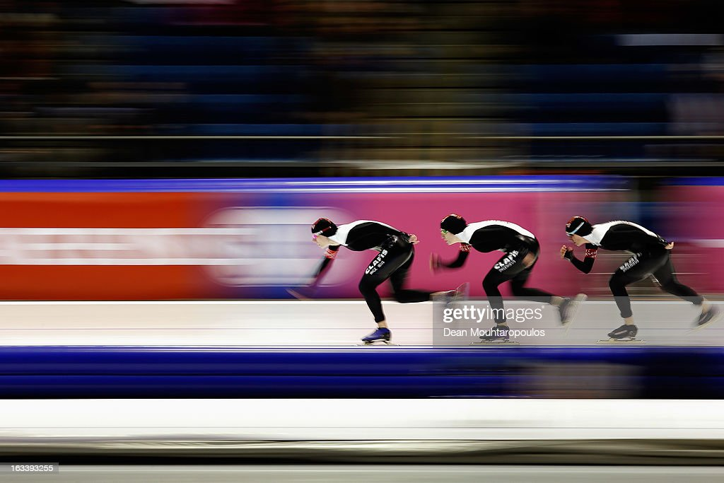 Canada's team comprised of Christine Nesbitt, Brittany Schussler and Kali Christ compete in the Womens Team Pursuit during Day 1 of the Essent ISU World Cup Speed Skating Championships 2013 at Thialf Stadium on March 8, 2013 in Heerenveen, Netherlands.