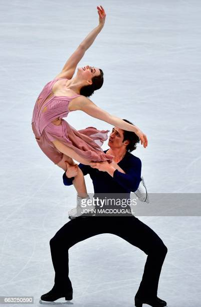 Canada's Tessa Virtue and Scott Moir compete to win the Ice Dance / Free Dance event at the ISU World Figure Skating Championships in Helsinki...