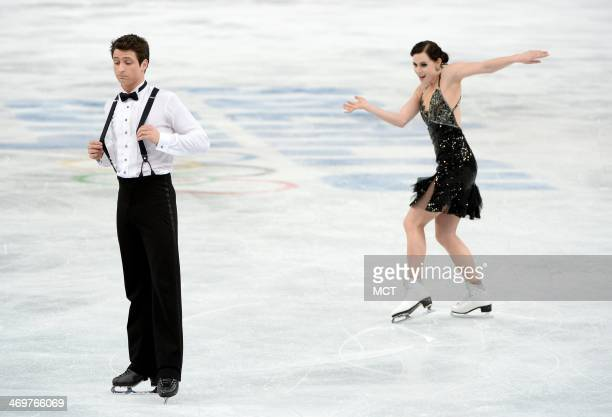 Canada's Tessa Virtue and Scott Moir perform their ice dancing short program at the Iceberg Skating Palace during the Winter Olympics in Sochi Russia...