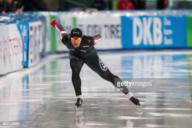 Canada's Vincent De Haitre competes during the 1000m men competition of the speed skating World cup in Stavanger Norway on March 11 2017 / AFP PHOTO...